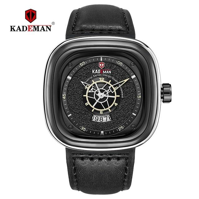 Men Watch Square Design Sport Leather Watch TOP Brand KADEMAN Fashion Quartz Wristwatches 2019 Business Casual Relogio Masculino Bahria Stores by Bahria Stores in [product_type]