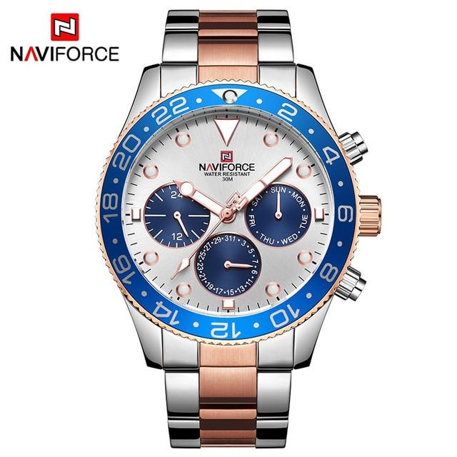 Mens Watches Top Luxury Brand NAVIFORCE Fashion Sports Waterproof 24 Hour Date Clock Men Full Steel Quartz Business Wristwatch Bahria Stores by Bahria Stores in [product_type]