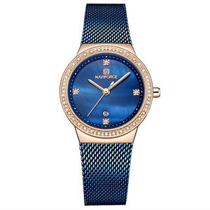 NAVIFORCE Fashion Brand Female Quartz Watch Stainless Steel Mesh Belts Elegant Ladies Watches Creative Luxury Dial Reloj Mujer Bahria Stores by Bahria Stores in Watches
