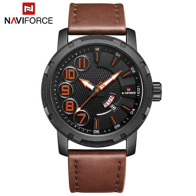 NAVIFORCE Luxury Brand Men's Quartz Watches Men Fashion Waterproof Leather Sport Military Watch Man Date Clock Relogio Masculino Bahria Stores by Bahria Stores in [product_type]