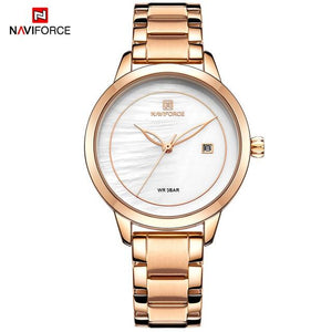 NAVIFORCE Luxury Brand Women Watches Clock Steel Quartz Watch Fashion Ladies Waterproof Wrist Watch Reloj Mujer Relogio Feminino Bahria Stores by Bahria Stores in [product_type]