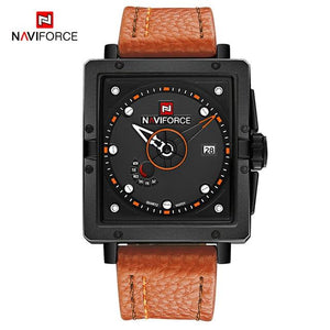 NAVIFORCE Men's Fashion Sport Watches Men Quartz Analog Date Clock Man Leather Military Waterproof Watch Relogio Masculino 2018  (7) Bahria Stores by Bahria Stores in Watches