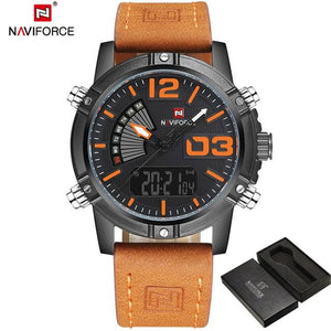 NAVIFORCE Men's Fashion Sport Watches Men Quartz Analog Date Clock Man Leather Military Waterproof Watch Relogio Masculino 2018 Bahria Stores by Bahria Stores in [product_type]