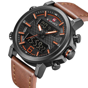 NAVIFORCE Mens Sports Watches Men Quartz LED Digital Clock Top Brand Luxury Male Fashion Leather Waterproof Military Wrist Watch Bahria Stores by Bahria Stores in [product_type]