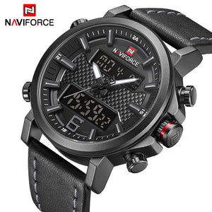 NAVIFORCE Men's Fashion Sport Watches Men Quartz Analog Date Clock Man Leather Military Waterproof Watch Relogio Masculino 2018  (8) Bahria Stores by Bahria Stores in Watches