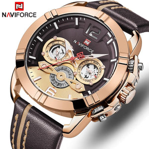 NAVIFORCE Mens Watch Top Brand Bussiness Quartz Men Watch Leather Waterproof Sport Wrist Watch Date Male Clock Relogio Masculino Bahria Stores by Bahria Stores in [product_type]