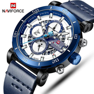 NAVIFORCE Mens Watches Top Brand Luxury Sport Multi-function Quartz-Watch Leather Strap Clock Men Waterproof Wristwatch relogio Bahria Stores by Bahria Stores in Watches