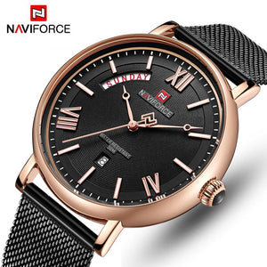 NAVIFORCE Top Brand Luxury Watches Men Stainless Steel Ultra Thin Watch Male Date Quartz Clock Business Watch Relogio Masculino Bahria Stores by Bahria Stores in [product_type]