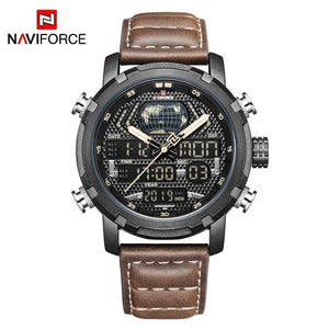 NAVIFORCE Men's Fashion Sport Watches Men Quartz Analog Date Clock Man Leather Military Waterproof Watch Relogio Masculino 2018  (19) Bahria Stores by Bahria Stores in Watches