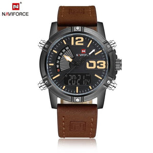 NAVIFORCE Men's Fashion Sport Watches Men Quartz Analog Date Clock Man Leather Military Waterproof Watch Relogio Masculino 2018  (2) Bahria Stores by Bahria Stores in Watches