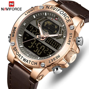 NAVIFORCE Men's Fashion Sport Watches Men Quartz Analog Date Clock Man Leather Military Waterproof Watch Relogio Masculino 2018  (6) Bahria Stores by Bahria Stores in Watches