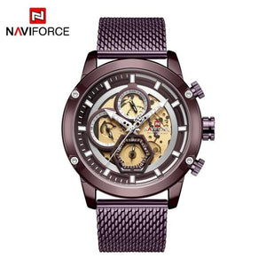 New Naviforce Men Watch Blue Skeleton Dial Luminous Mens Wrist Watches Luxury Design Quartz Watch Men Luxury Watches Waterproof Bahria Stores by Bahria Stores in [product_type]