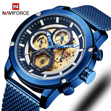 Load image into Gallery viewer, New Naviforce Men Watch Blue Skeleton Dial Luminous Mens Wrist Watches Luxury Design Quartz Watch Men Luxury Watches Waterproof Bahria Stores by Bahria Stores in [product_type]