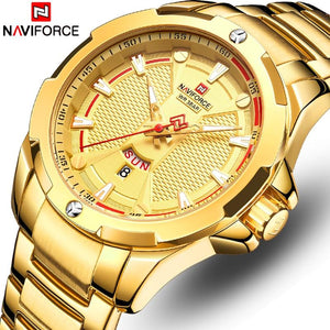 New Naviforce Mens Watches Gold Top Brand Luxury Watches Men Stainless Steel Quartz Waterproof Men Wristwatch Relogio Masculino Bahria Stores by Bahria Stores in [product_type]