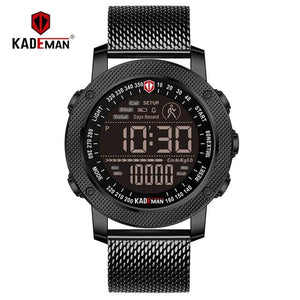 TOP Sport Mens Watch Step Count LED Display Digital Watch Outdoor Waterproof KADEMAN Casual Leather Wristwatch Relogio Masculino Bahria Stores by Bahria Stores in [product_type]