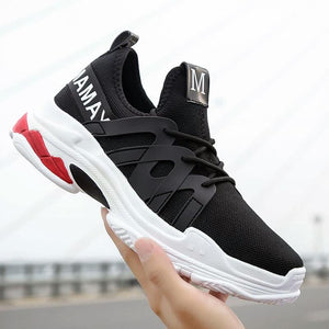 MAMAY Urban Style Letters Pattern Black Sneakers Bahria Stores by AnzorStore in Casual Sneakers