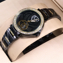 Load image into Gallery viewer, Chanel Unique Wrist Watch For Women with Embossed Flower Dial plus Crystal Ring Bahria Stores by AnzorStore in Wrist Watch