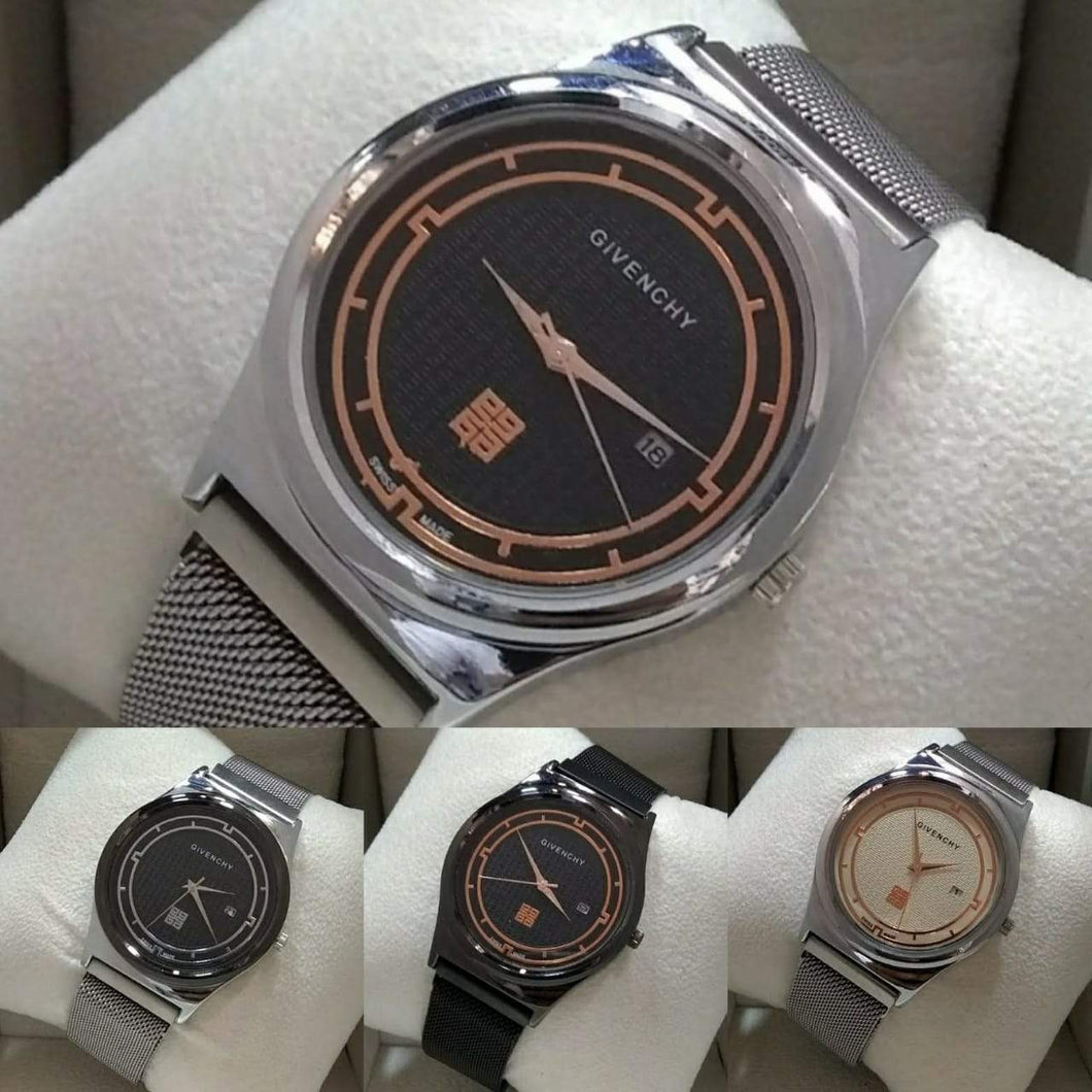 Stylish Men's Givenchy Round Stainless Steel Dial with Calendar and Modern Mesh Strap Bahria Stores by AnzorStore in Wrist Watch