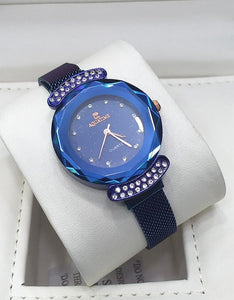 AQUATIME's Round End Crystal Embedded Metallic Mesh Strap Wrist Watch for Women Bahria Stores by AnzorStore in Wrist Watch