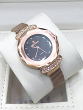 Load image into Gallery viewer, AQUATIME's Round End Crystal Embedded Metallic Mesh Strap Wrist Watch for Women Bahria Stores by AnzorStore in Wrist Watch