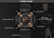 Load image into Gallery viewer, KADEMAN Leather Casual Water-Resistant Fashionable Square Dial With Unique Display And Rotating Logo Wristwatch - KD612 Bahria Stores by AnzorStore in Wrist Watch