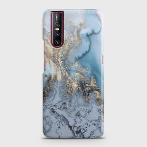 VIVO V15 PRO Golden Blue Marble Case Bahria Stores by Bahria Stores in [product_type]