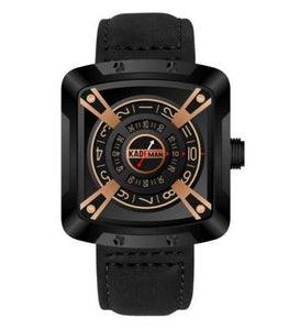 KADEMAN Leather Casual Water-Resistant Fashionable Square Dial With Unique Display And Rotating Logo Wristwatch - KD612 Bahria Stores by AnzorStore in Wrist Watch