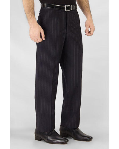 Black Cotton Blended Self Design Striped Formal Dress Pants Bahria Stores by Fashion Cafe in Trousers & Pants