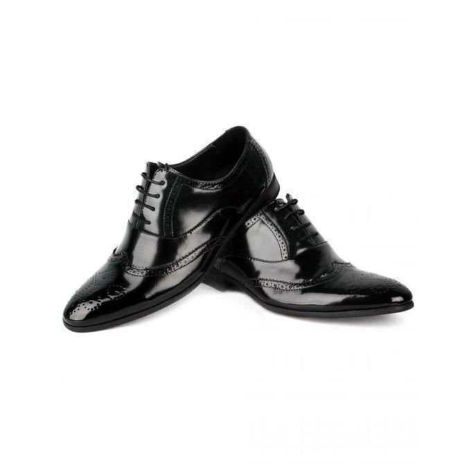 Black Leather Lace-up Shoes For Men