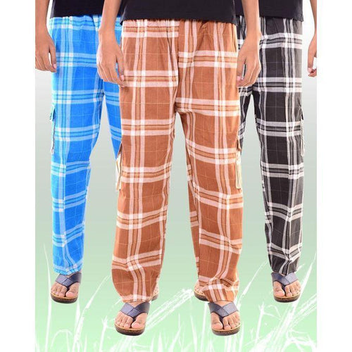 Pack of 3 Multicolour Cotton Trousers for Men Bahria Stores by Aybeez in Trousers & Pants