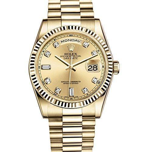 ROLEX Day-Date With DIamond DIal Flutted 5 Star Watch