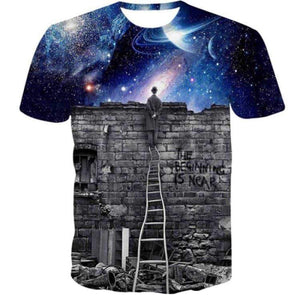 The beginning is near graphical half sleeves round neck t-shirt for men Bahria Stores by Aybeez in Printed T-Shirts