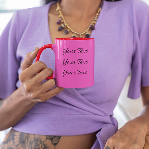 Personalized Dual Color Mug for Mom with Model