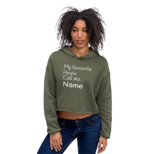 Personalized Green Crop Hoodie for Mom