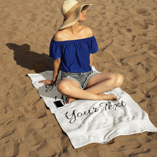 Personalized Beach Towel - 37x74 for Mom with Model