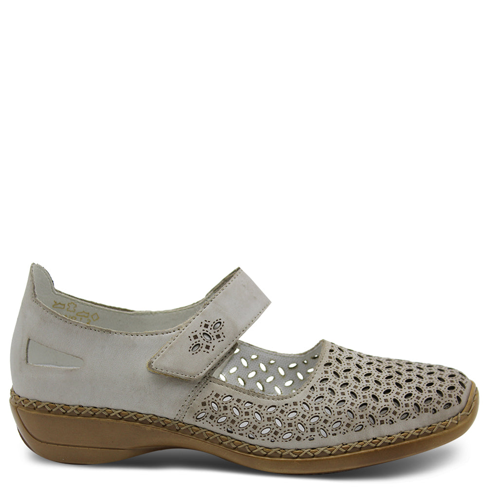 Rieker ladies 413G8 flat court shoe with laser cut detailing