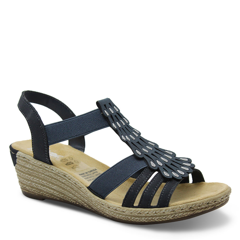 Rieker 62436 Womens Navy Wedge Sandal