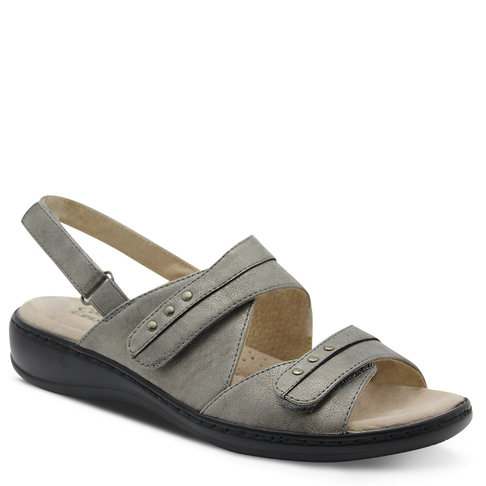 Comfort Leisure Noble Womens Pewter Flat Sandal