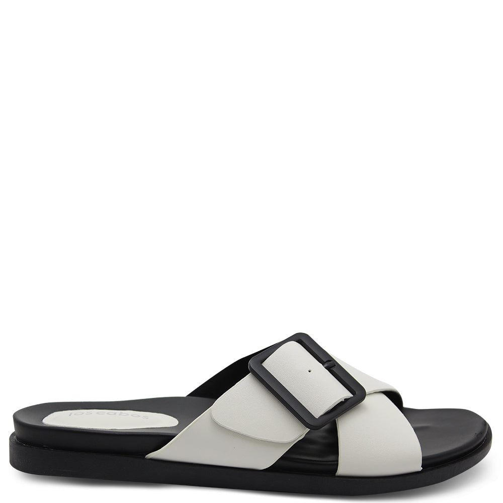 Los Cabos Roe White Women's Flat Slide