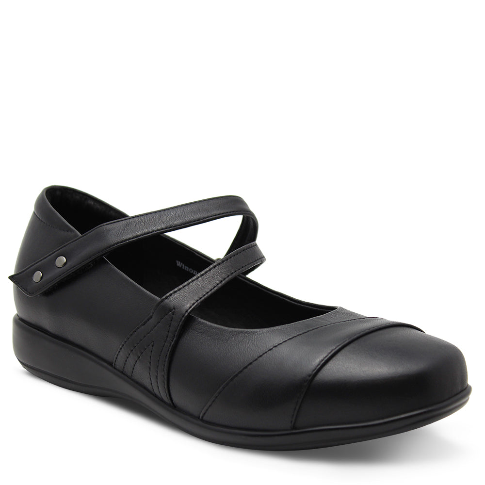 Klouds Winona Women's Black Leather Flat Court Shoes Casual Shoes