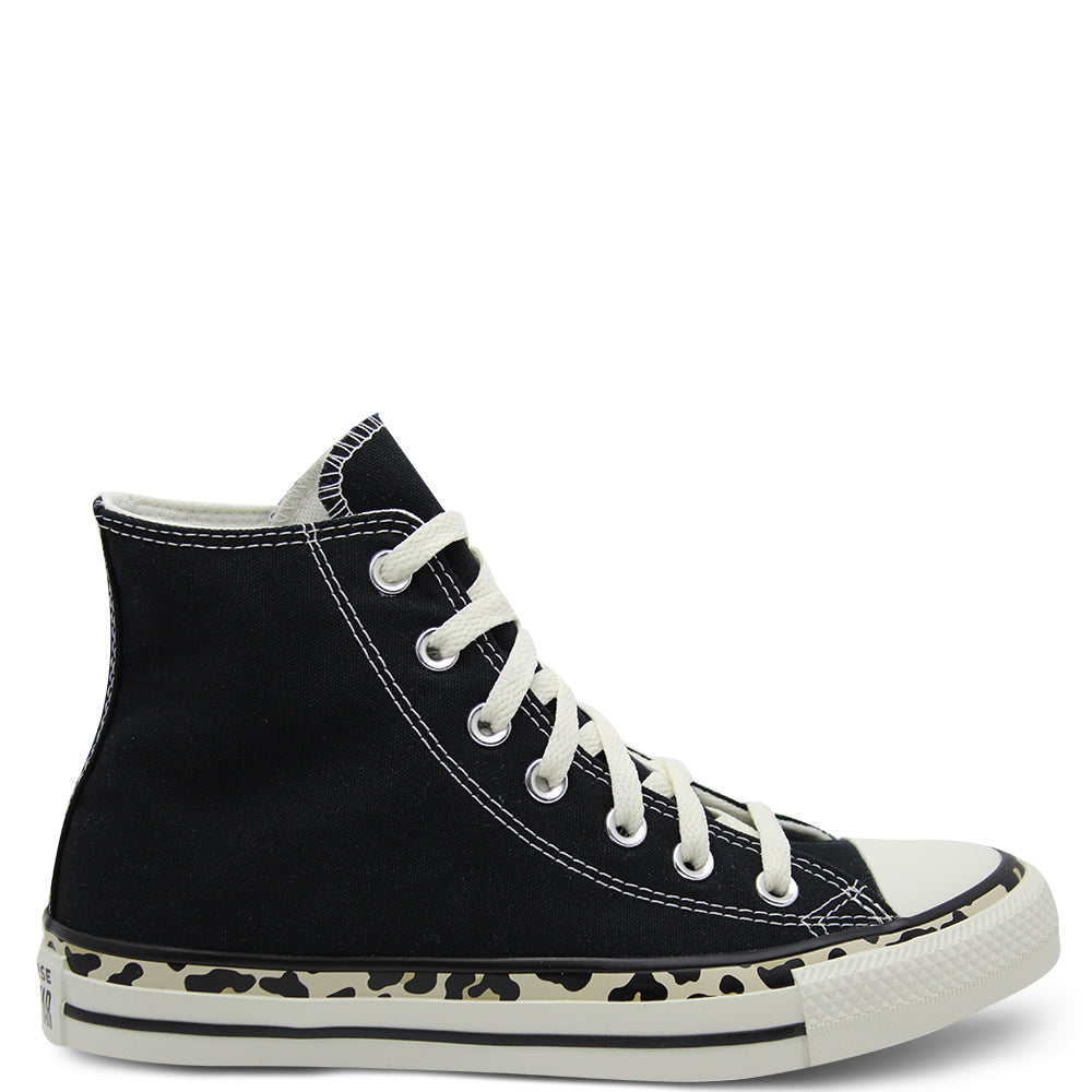 Converse Chuck Taylor Edged Women's High Top Sneakers Black with Animal Print
