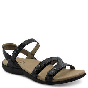 Taos Happy womens flat sandal black