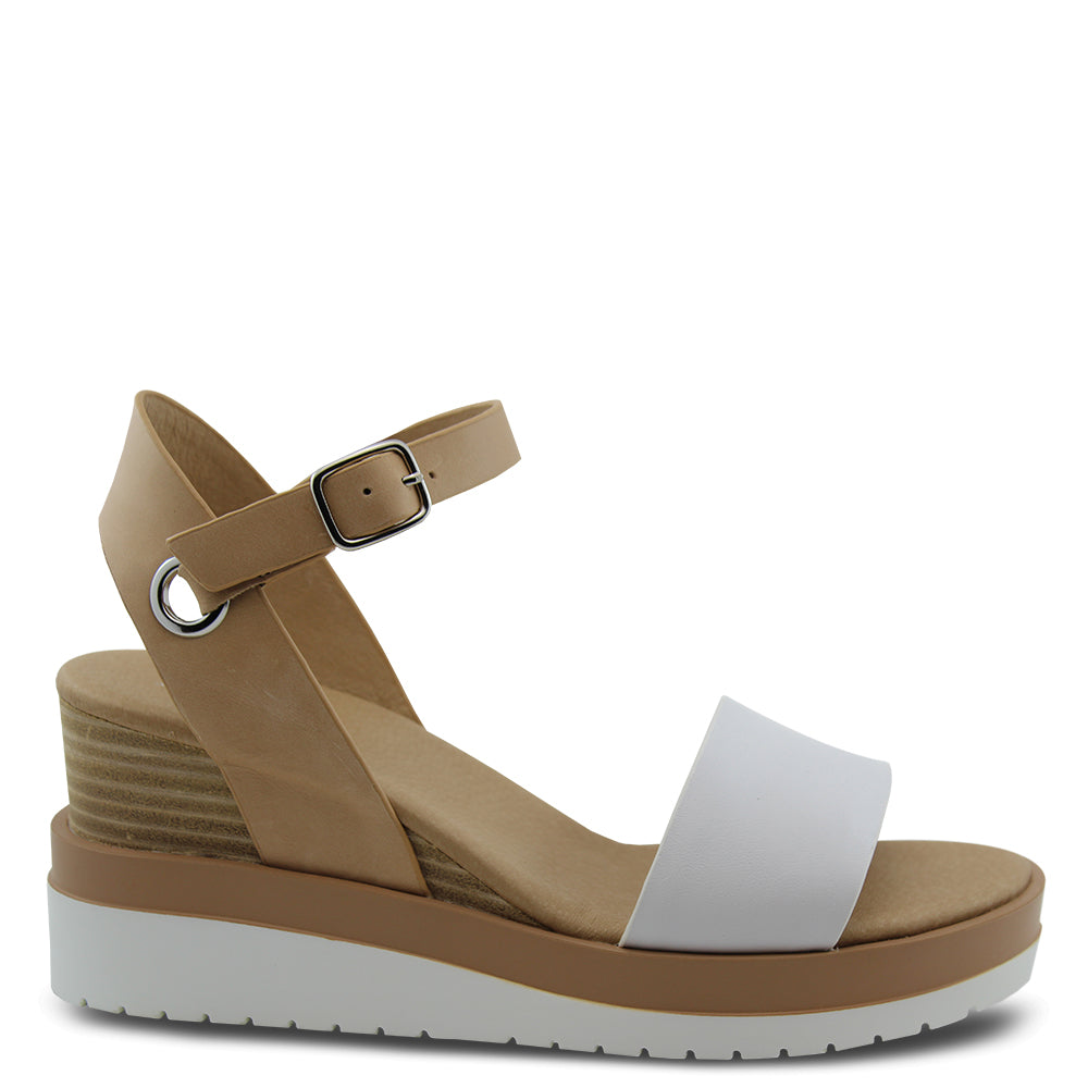Jo mercer Kenzie White/natural Wedge Sandal