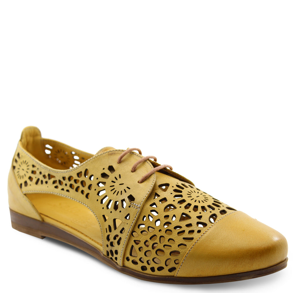 Sala Kate womens flat brogue burnt yellow