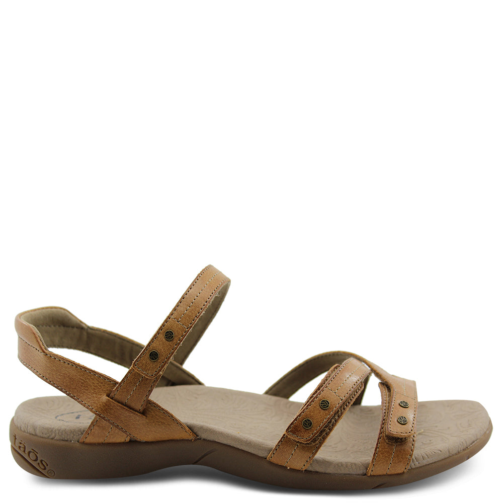 Taos Happy womens flat sandal honey