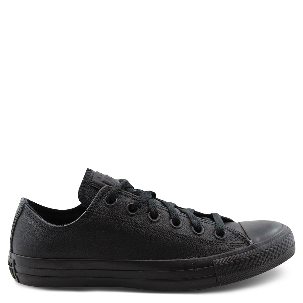All star lo Leather  black mono school