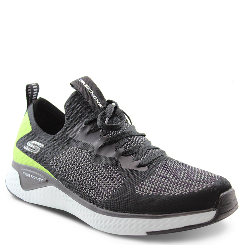 Skechers Solar Fuse Black/Lime Mens Lace up