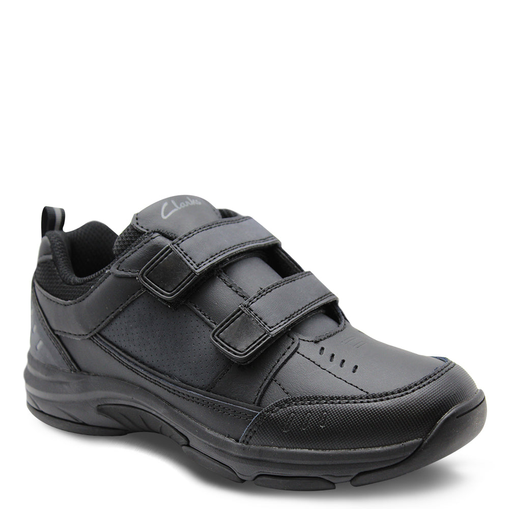 Clarks Advance black Velcro school shoe