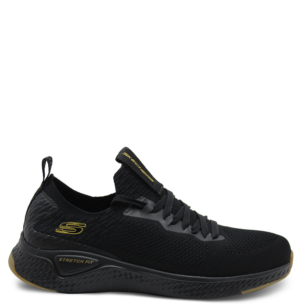 Skechers Solar Fuse Black/Gold Mens Lace up