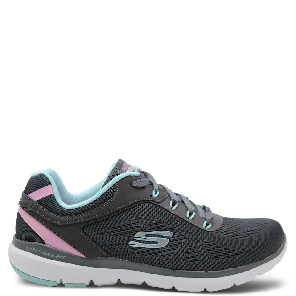 Skechers Steady Move Charcoal/Turquoise Womens Sneaker